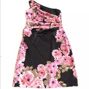 Maggy London Satin Ruched Rose Sheath Dress EUC
